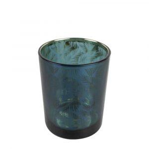 Waxinelichthouder Petrol Palmblad (10 x 8 cm)