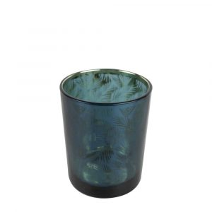 Waxinelichthouder Petrol Palmblad (8 x 7 cm)