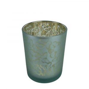 Waxinelichthouder Turquoise Vlinders (10 x 8 cm)