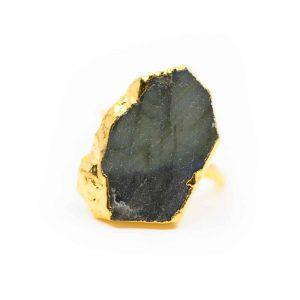 """Labradoriet Edelsteen Ring 925 Zilver & Verguld """"Slice of Life"""""""