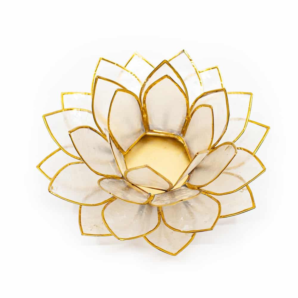 witte lotus kaarshouder met gouden randjes