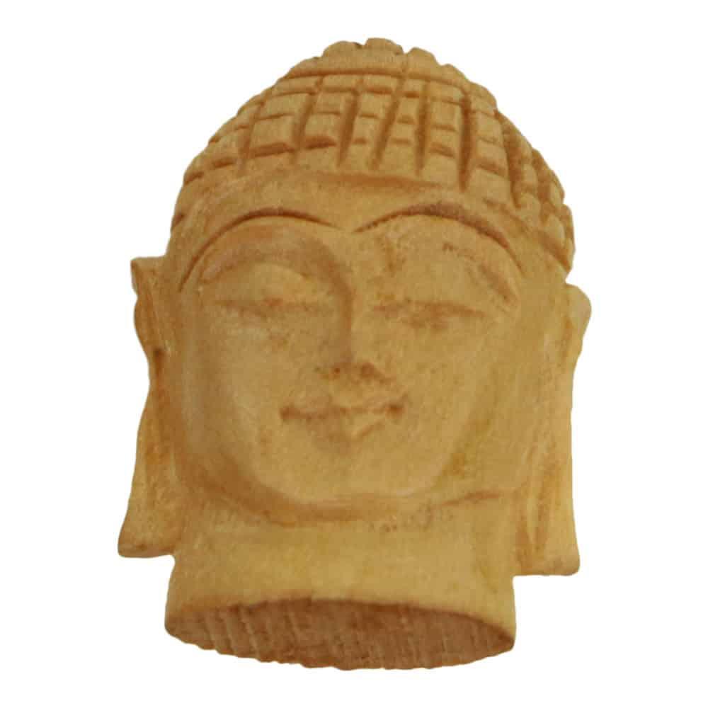 Spiru Beeldje Houten Hoofd Boeddha Gautam