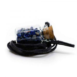Geschenkflesje aan Waxkoord met Lapis Lazuli