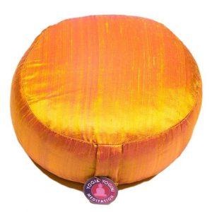 Yogi & Yogini Meditatiekussen Rond Ruwe Zijde Goudkleurig - 33 x 17 cm