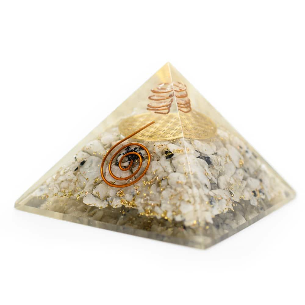 Orgonite Piramide Regenboog Maansteen Flower of Life (70 mm)