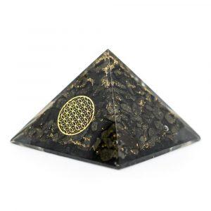 Orgonite Piramide van Pyriet met Flower of Life (70 mm)