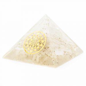 Orgonite Piramide Seleniet - Sri Yantra - (70 mm)