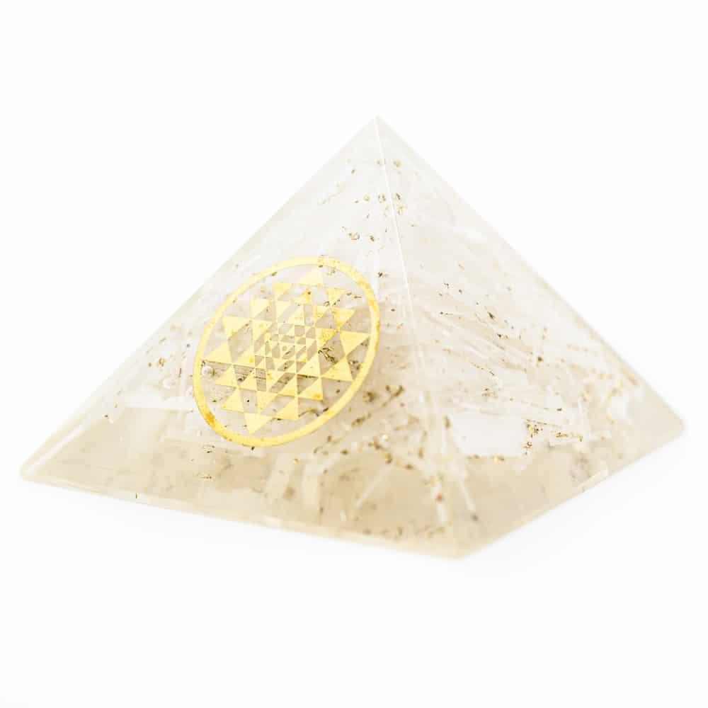 Orgonite Piramide Seleniet Sri Yantra (70 mm)
