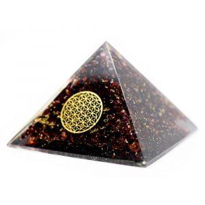 Orgoniet Piramide Granaat met Bloem des Levens (70 mm)