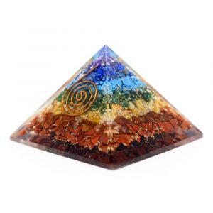 Orgoniet Piramide 7 Chakra met Koperen Spiraal (40 mm)