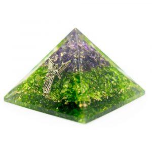 Orgonite Piramide Amethist/ Peridoot - Aartsengel Raphaël - (40 mm)