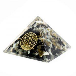 Orgonite Piramide van Chrysocolla - Flower of Life (40 mm)