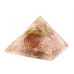 Orgonite Piramide Rozenkwarts - Koperen Spiraal - (40 mm)
