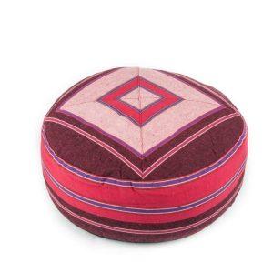 Yogi & Yogini Meditatiekussen Rond Katoen Roze - Patroon Rood - 33 x 17 cm