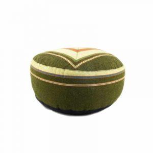 Yogi & Yogini Meditatiekussen Rond Katoen Groen - Patroon Crème - 33 x 17 cm