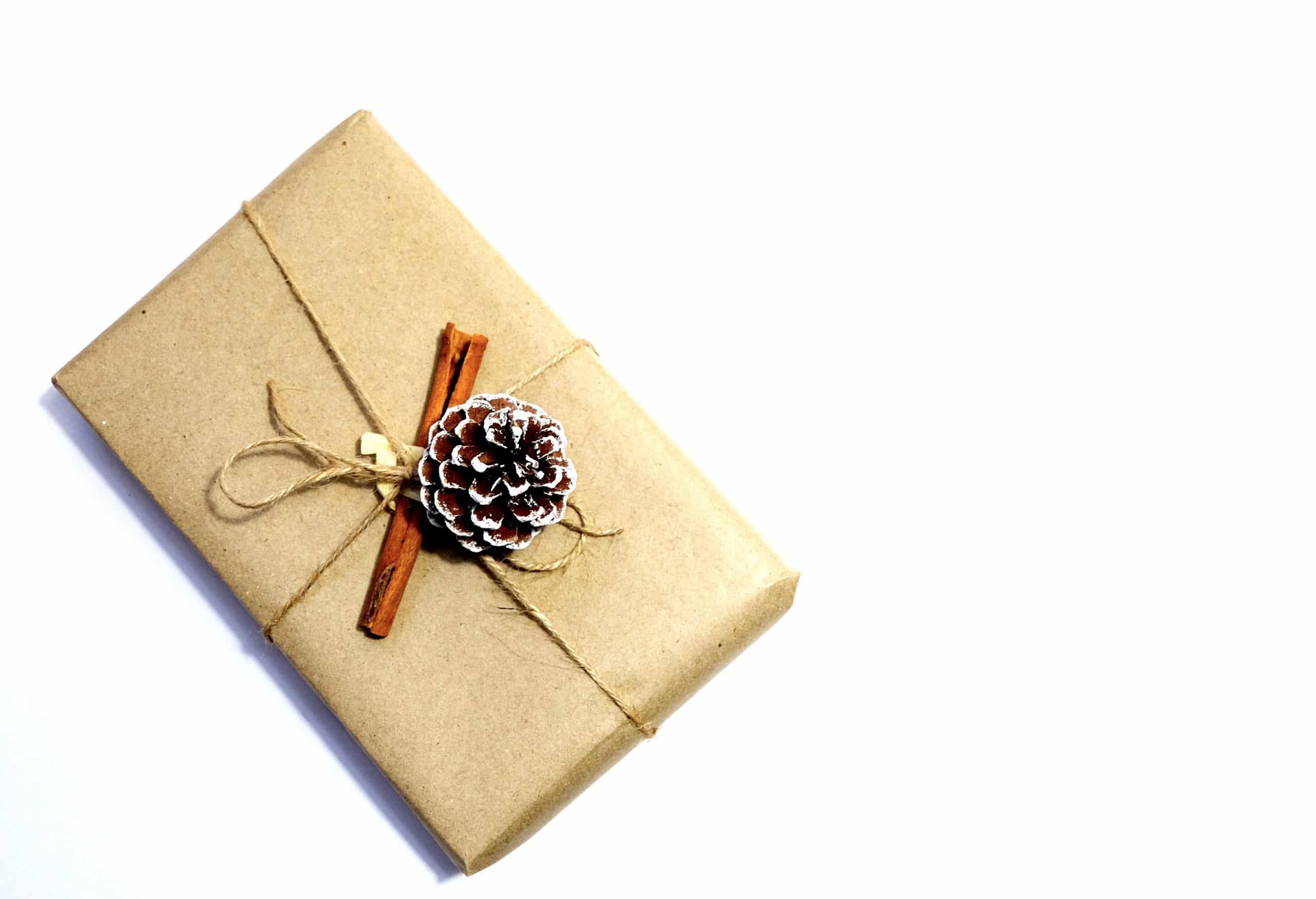 cadeau ingepakt met bruin papier kaneelstokje en dennenappel