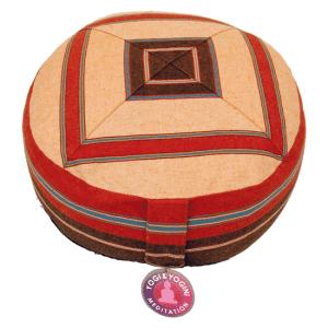 Yogi & Yogini Meditatiekussen Rond Katoen Oranje - Patroon Crème - 33 x 17 cm
