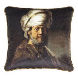 Klassiek Fluwelen Kussen Man met Tulband (45 x 45 cm)