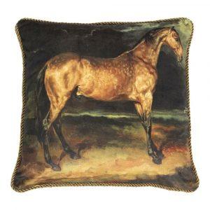 Klassiek Fluwelen Kussen Bruin Paard (45 x 45 cm)