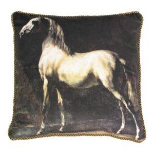 Klassiek Fluwelen Kussen Wit Paard (45 x 45 cm)
