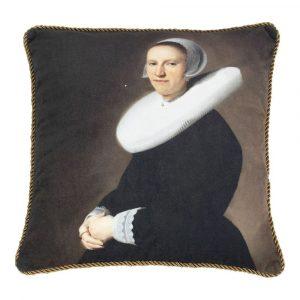 Klassiek Fluwelen Kussen Vrouw met Kraag (45 x 45 cm)