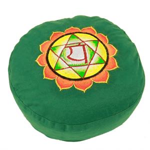 Yogi & Yogini Meditatiekussen Rond Katoen Groen - 4e Chakra Geborduurd - 33 x 17 cm