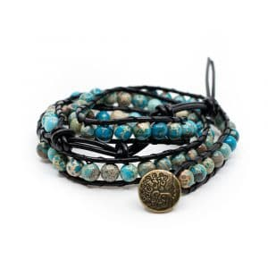 Bohemian Blauwe Agaat Wikkel Armband met Tree of Life