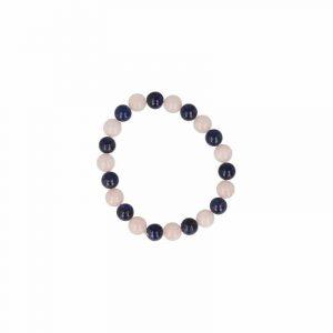 Kralenarmband Mannen Lapis Lazuli en Rozenkwarts