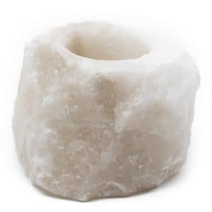 Zoutsteen Waxinelichthouder Wit (400 - 700 gram) ca. 9 x 9 x 10 cm