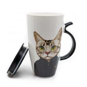 Beker Zwarte Kat met Staart Oortje - 400ml