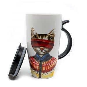 Beker Rode Kat met Staart Oortje - 400ml