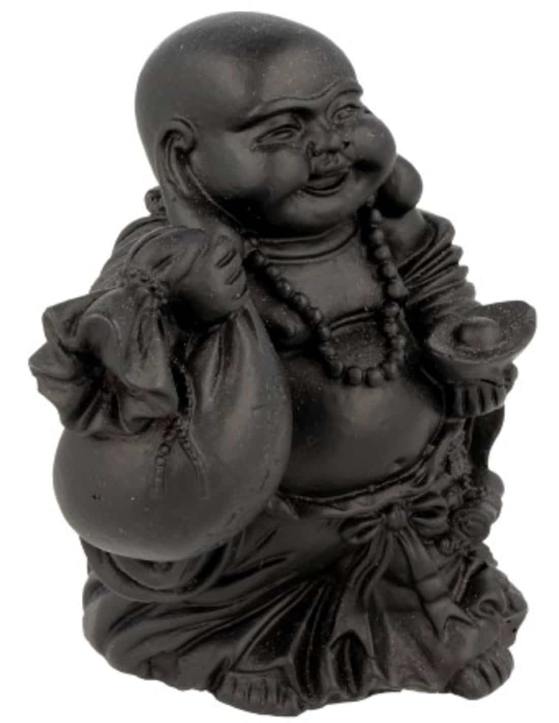 Spiru Zwarte Boeddha met Zak en Schaal (9 cm)