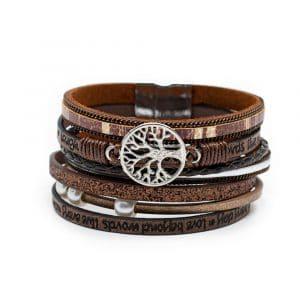 Bohemian Armband 6-laags met Levensboom Bedel