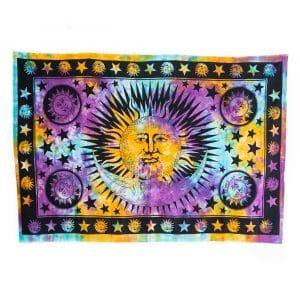 Authentiek Wandkleed Katoen met Kleurrijke Zon & Maan (215 x 135 cm)