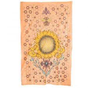 Authentiek Wandkleed Katoen Zonnebloem en Bij (215 x 135 cm)