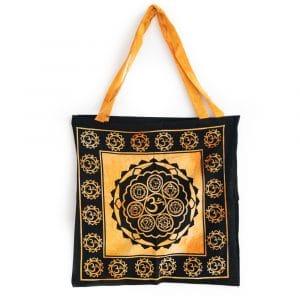 Tote Bag Katoen - OHM en Chakras Oranje (45 cm)