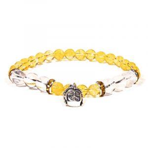 Edelsteen Armband Citrien/ Bergkristal met Boeddha