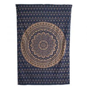 Authentiek Mandala Wandkleed Katoen Blauw/ Goudkleurig in Cirkels