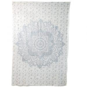 Authentiek Mandala Wandkleed Katoen Zilverkleurig/ Wit (215 x 135 cm)