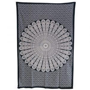 Authentiek Mandala Wandkleed Katoen Zwart/ Wit (215 x 135 cm)
