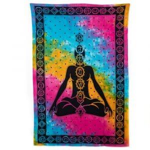 Authentiek Wandkleed Katoen Chakra Meditatie Kleurrijk (215 x 135 cm)