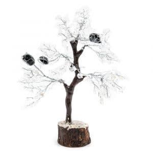 Edelsteenboom Bergkristal met Getrommelde Toermalijn - Vitaliteit - (25 cm)