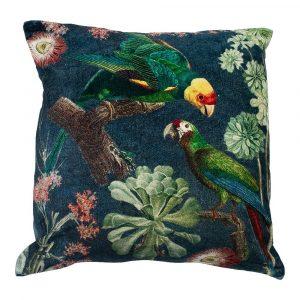 Fluwelen Kussen Charming Papegaaien Groen Blauw (45 x 45 cm)