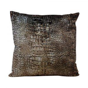 Fluwelen Kussen Croco Bruin (45 x 45 cm)