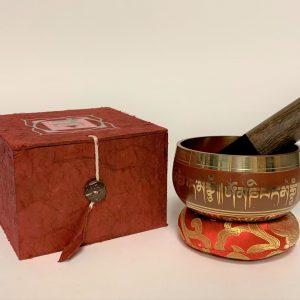 Rode Klankschaal met Onderzetter en Stick - OMPH en Lotus