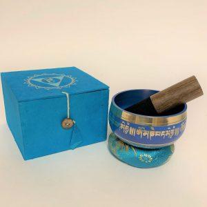 Blauwe Klankschaal met Onderzetter en Stick - OMPH en Lotus