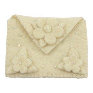 Vilten Portemonnee Bloemen (Crème)