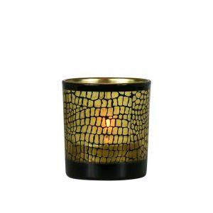 Waxinelichthouder Croco Mat Zwart (8 x 7,3 cm)
