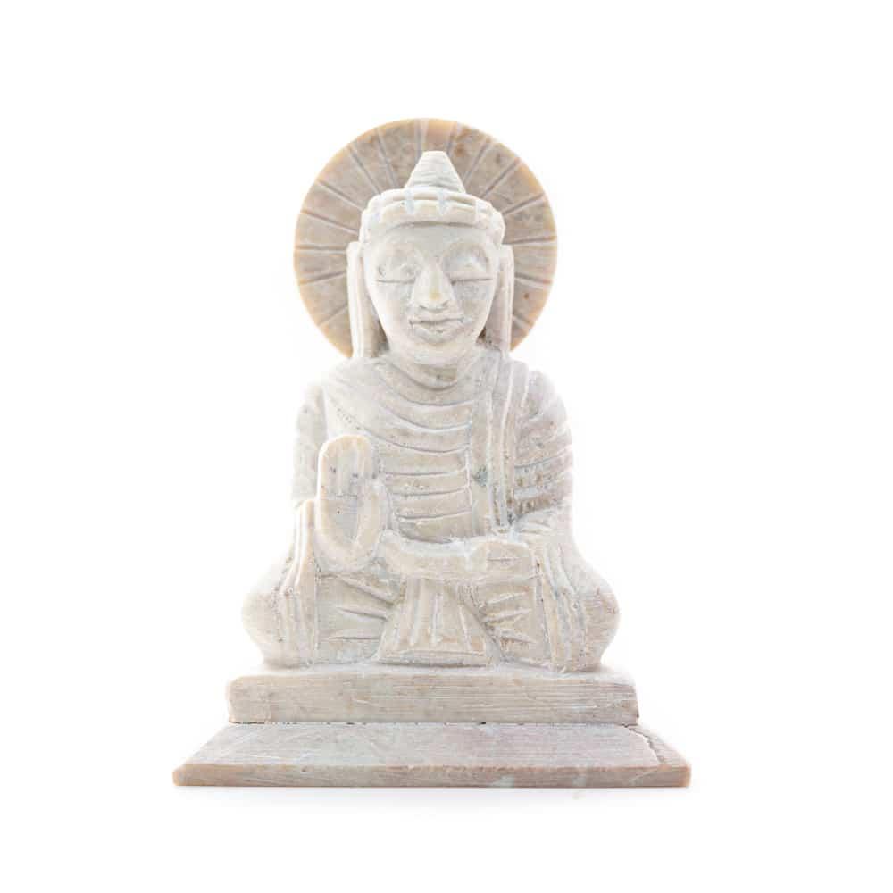 Spiru Boeddha Beeld Steen - Antieke Finish - Teaching (10 cm)