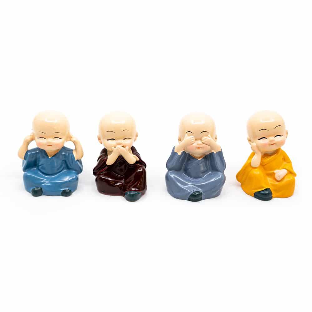 Spiru Happy Boeddha Beeld Vrolijke Kleuren - set van 4 - ca. 6 cm